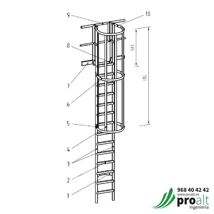 Escalera TIPO GATO • Vertical permanente según UNE 14122-4